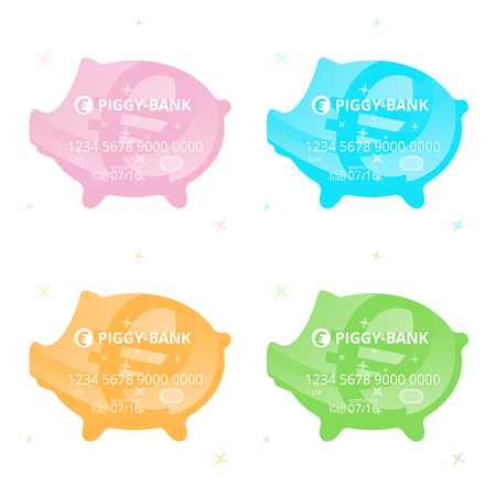 Four vector colored credit cards in the form of a piggy-bank with euro sign on a white background