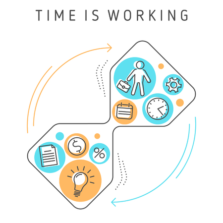 Continuous process of time working, time management, targeting, work planning and timing. Creative workflow of investing time, ideas, knowledge to make money.