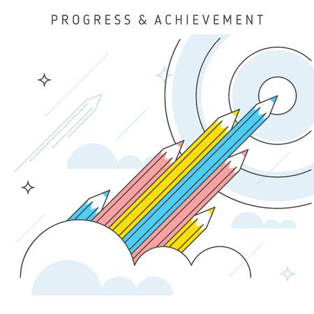 achieve goal: Flat line illustration represent progress concept, achievement concept, teamwork to achieve goal. Idea of growth concept, increase business, leadership, moving upwards and development concept.