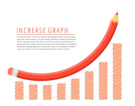 Flat infographic growth business concept. Red pencil as a increase graph arrow with growth hand drawn column chart. Infographics vector elements for web, publish, social networks.