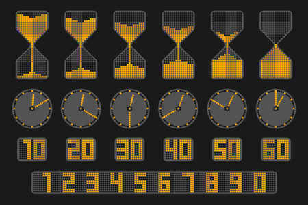 Flat elements for infographics. Hourglass, clock an digital time indicator. Concept vector illustration on dark background represent ten seconds time interval icons of sandglass, watch and timer. Ilustração