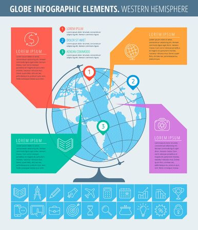 Infographic elements. Business and education infographic concept. Thin line illustration of globe, western hemisphere map, business icons. Infographic vector flat design template, infographic map.