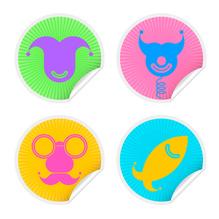 animal idiot: Colorful four sticker set with Fools Day Symbols. Vector illustration april fools icons badge collection in different colors isolated on white background.