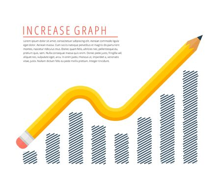 Flat infographic increase profit graph concept. Yellow pencil as a growth arrow with hand drawn column chart. Infographics vector elements for business publish, web, social media.