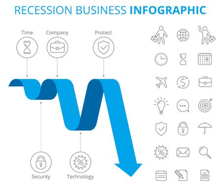 Infographic design template. Vector flat line infographic elements. Downward blue arrow and icons depict recession business. Vector illustration of decrease arrow and isolated business icon set