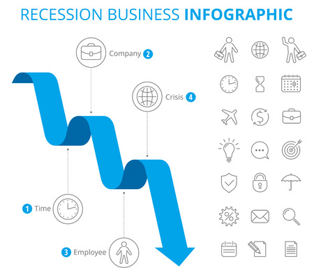Vector flat line infographic elements. Downward blue arrow and icons represent process of recession business. Vector illustration of decrease arrow and business icon set isolated on white background.