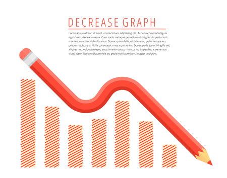 Flat infographic reduction business concept. Red pencil as a decreasing graph arrow with recession hand drawn column chart.