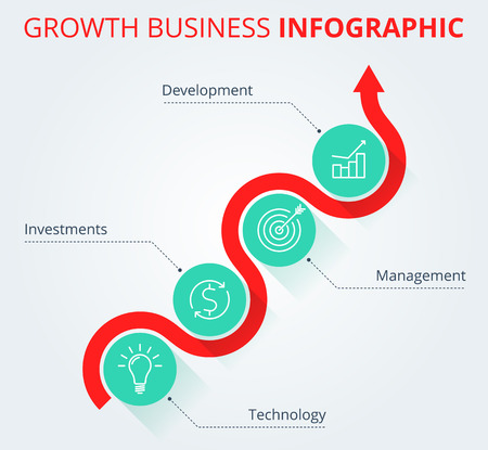 Increasing graph concept. Red arrow depict growth business and process. Flat vector illustration of upward arrow and business icons. Infographic elements, template for web, publish, social networks.