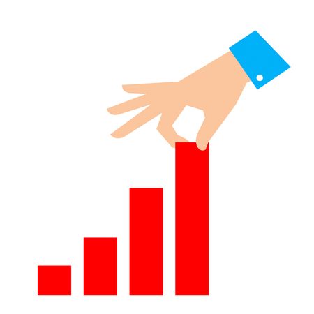 Improve business concept. Flat illustration of chart and hand. Businessman pull column of graph to improve progress, success and profit. Vector template for infographic, web, publish, social networks.