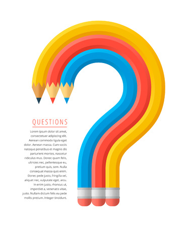 Flat stile graphic education and business concept. Group of red, yellow and blue pencils as a question mark. Infographics vector elements for web, newspaper articles, social networks.