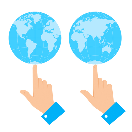 Business control concept. Flat vector illustration of globe balancing on the finger of hand. Man is holding and spinning world on forefinger. Infographic element for web, print, publish, presentation
