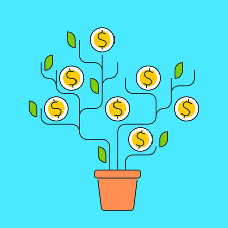 Vector flat line illustration of money tree represent growth concept development process of investing time, ideas, technologies to growth money. The metaphor of growth business and increase profit. Illustration