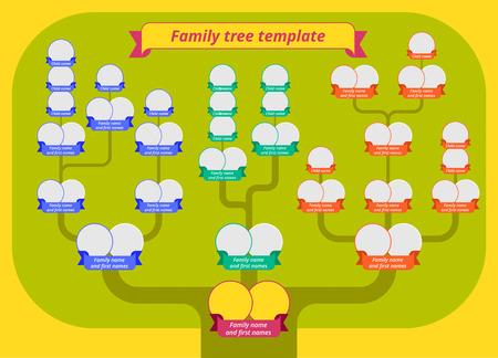 Modello albero genealogico. Illustrazione di stile piatto moderno di albero con corona verde, rami e bordi di foto con nastri. Vettore di tabella di genealogia infographic.