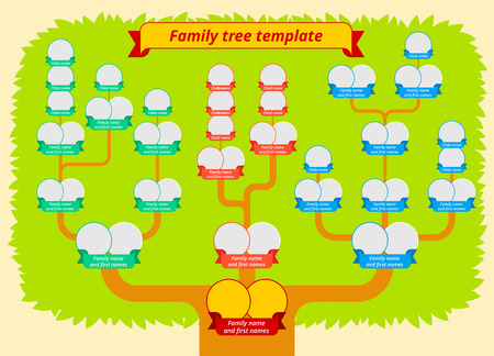 Family tree template. Modern flat style illustration of tree with leaves, branches and photo borders with ribbons. Genealogy table vector design.