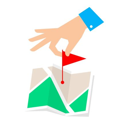 rout: Rout pointer concept. Flat vector illustration of map and hand with flag marker. Man is routing a rout and pointing a place on the plan. Infographic element for web, publishing, social networks. Illustration