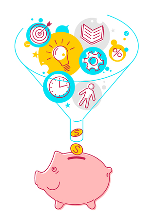 Funnel flow and piggy-bank concept. Flat line style illustration. Process of conversion ideas, time, technologies to money. Infographics vector elements for business publish, web, social networks. Illustration