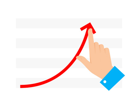 Improve business concept. Flat illustration of chart graph and hand. Businessman push growth arrow to improve progress and get profit. Vector infographic element for web, publishing, social networks.
