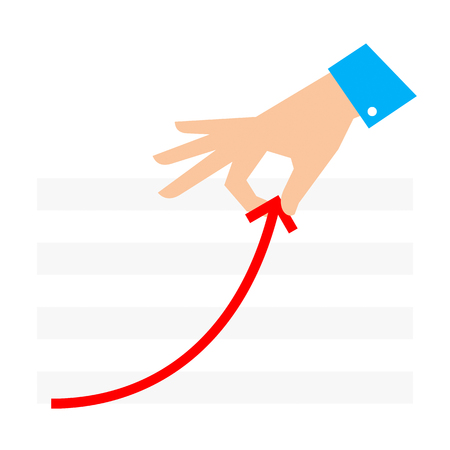 improving: Improve business concept. Flat illustration of chart and hand. Businessman pull growth arrow graph to improve progress and success. Vector template for infographic, web, publish, social networks.