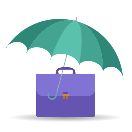 belay: Protect and insurance business symbol. Vector flat illustration of umbrella and business case. Assurance infographic design element for web, internet, print, presentation, brochure, social networks.