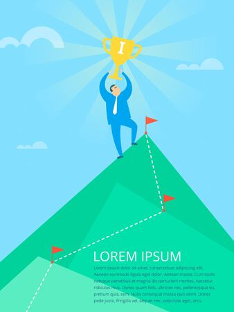 Businessman standing on the mountain with trophy in the hands. Route line with marker flags through the rock peaks. Business success concept flat vector illustration. Metaphor of the goal achievement.