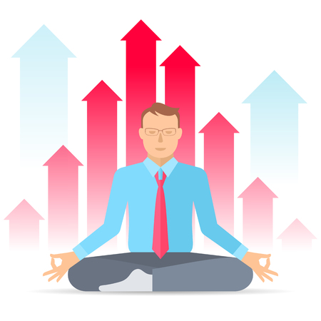 meditates: Manager meditates at work in the lotus pose on the increasing graphs background. Flat vector concept illustration of meditation. Business infographic element for web, presentation, social networks.