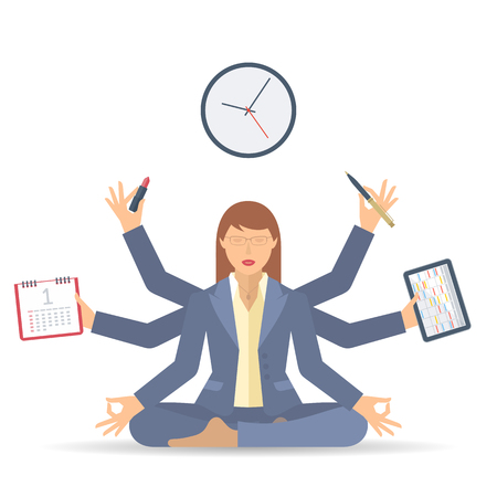 meditates: Business multitasking time management. Flat vector concept isolated illustration. Businesswoman at work meditates with calendar, schedule, timetable in the hands. Busy womans office meditation. Illustration