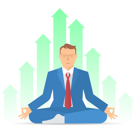 Businessman meditates in the lotus pose. Professional manager in the increasing graphs background. Flat vector concept illustration. Infographic design element for web, presentation, social networks.