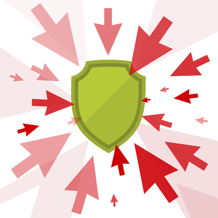 Attack and protection digital technology concept. Vector flat illustration of cursors and shield. Computer pointers attack, guard protects data. Design element for brochure, banners, social networks. Illustration
