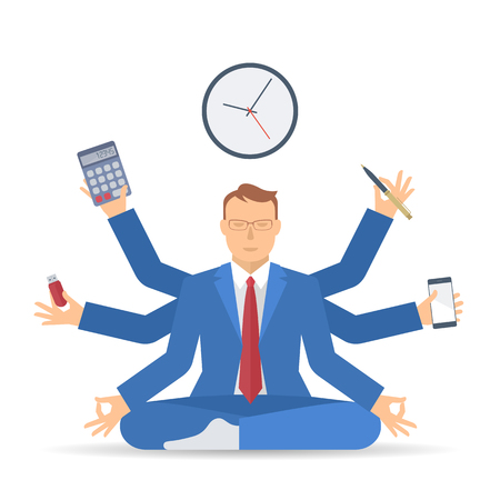Business multitasking time management. Flat vector concept isolated illustration. Businessman at work meditates like shiva with pen, calculator, phone in the hands. Busy man office working, meditation Illustration