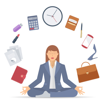 Flat vector business concept illustration of businesswoman meditation. Woman meditates at work in the lotus pose. Professional manager sitting in the meditation surrounded with office supplies. Stock Illustratie