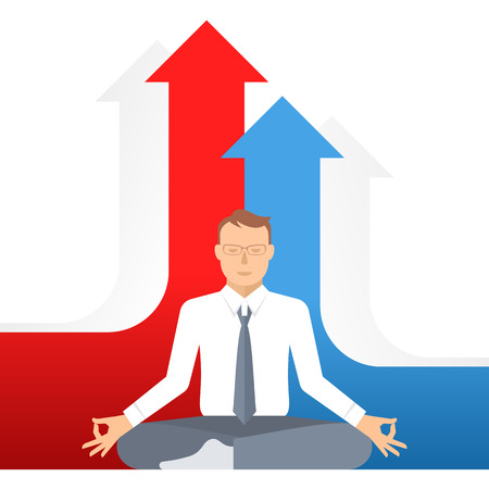 meditates: Businessman meditates at work in the lotus pose on the growth graphs background. Flat vector business concept illustration of meditation. Design template element. Competition, increase, success ideas.
