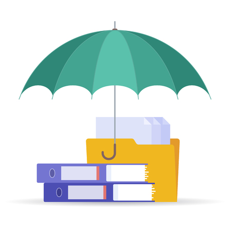 Protect and safety data digital technology concept. Vector flat illustration of umbrella, files and documents. Design element for web, webdesign, publish, presentation, brochure, social networks.