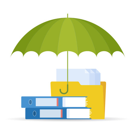 malware: Protect and safety data digital technology concept. Vector flat illustration of umbrella, files and documents. Design element for web, webdesign, publish, presentation, brochure, social networks.