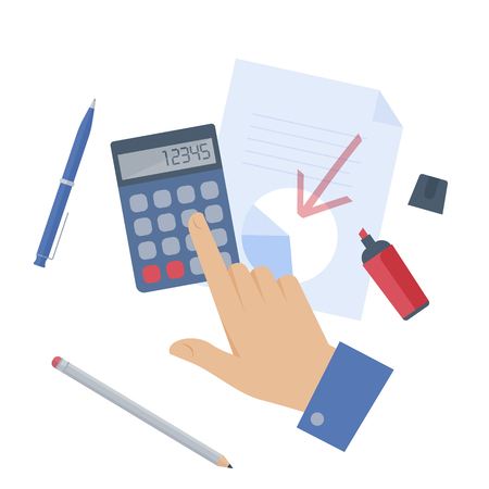Businessman counting profit on the calculator. Flat isolated illustration of hand, document, graph, calculator and office supplies on white background. Vector infographic element for web, presentation Illustration