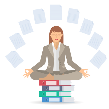 meditates: Businesswoman meditates at work in the lotus pose. Manager surrounded with office documents sitting on the folders pile. Flat vector business concept infographic and illustration of woman meditation.