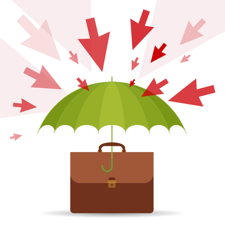 Protect and safety business concept. Vector flat illustration of umbrella, business case, danger and risks. Design element for web, internet, print, presentation, brochure, social networks.