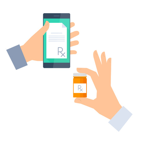Patient gets prescription by phone and buys drugs. Telemedicine and telehealth vector  flat concept illustration. One hand holding a phone with rx prescription, another holding container with cure.