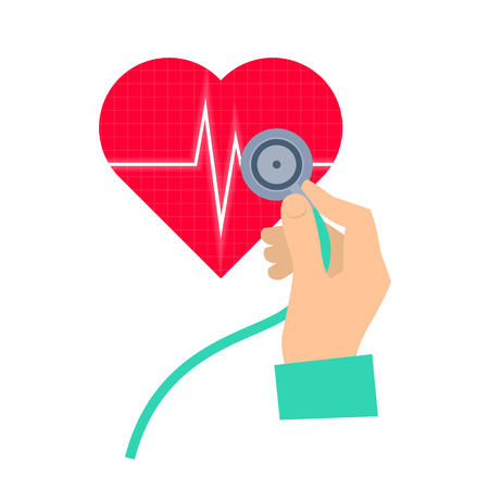 Doctor using a stethoscope hears a heart pulse. Medicine and health care flat concept illustration. Hand, stethoscope and heart with pulse. Vector element for medical and healthy infographic.