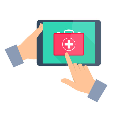 Man gets first aid by internet. Telemedicine and telehealth flat concept illustration. One hand holding tablet computer, another touching a red first aid box icon on a display. Vector tele medicine. Illustration