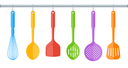 Colorful plastic kitchen utensils isolated on white background. Flat illustration of cooking tools. Vector kitchenware color elements for web, culinary infographic, restaurant booklet, presentation. Illustration