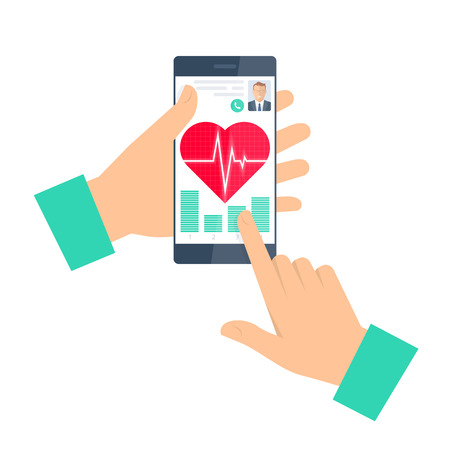 Doctor advises a patient on a phone. Telemedicine and telehealth flat concept illustration. Man hand, smartphone, heart with pulse on a screen. Vector element for tele and remote medicine infographic. Illustration