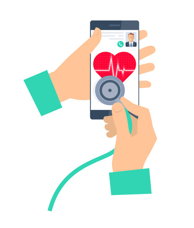 Doctor using a stethoscope on a phone. Telemedicine and telehealth flat vector concept illustration. Hand, stethoscope, smartphone, heart with pulse. For tele and remote medicine, health infographic. Illustration