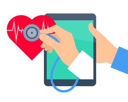 Heart pulse examination by tablet computer. Telehealth and telemedicine flat concept. Doctors hand from pad screen holding a stethoscope and diagnosing heartbeat. Vector online medicine illustration. Illustration