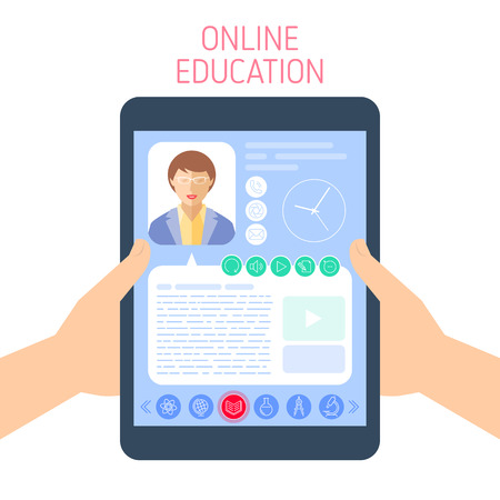School and education concept. Vector flat illustration of pupil hands holding a tablet. A woman teacher gives a lesson on the computer screen. Element for e-learning, online education infographic.