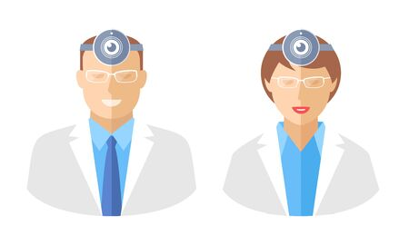 cams: Doctors with web cams. Telemedicine and telehealth flat concept illustration. Avatars of male and female medic with web camera on a heads. Vector elements for tele medical and health infographics.