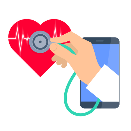 Heart pulse examination by phone. Telemedicine and telehealth flat concept illustration. Doctors hand from phone hold a stethoscope and exams heartbeat. Vector tele health and online medicine element Illustration