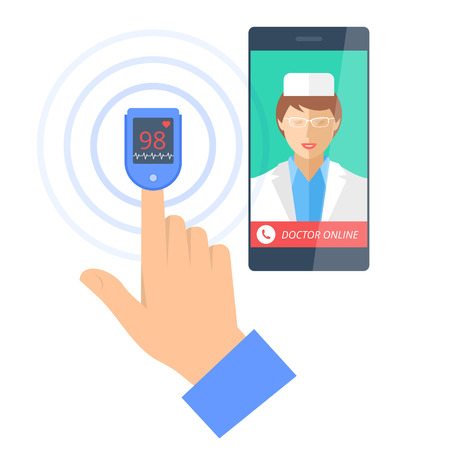 Mobile phone with female doctor online on the display and pulsometer on a finger. Tele medicine flat concept illustration of smartphone, medic and hand, cardiosensor. Vector design infographic element Иллюстрация
