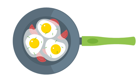 Fried eggs on a frying pan. Flat illustration of scrambled eggs with tomatoes isolated on a white background. Vector omelette elements for kitchen and food infographics.
