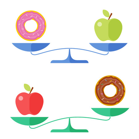 Flat concept illustration of libra, healthy and unhealthy food symbols. Apple and a donut on a scales.  Isolated vector elements for diet, eating and healthcare infographics, presentations, and web.