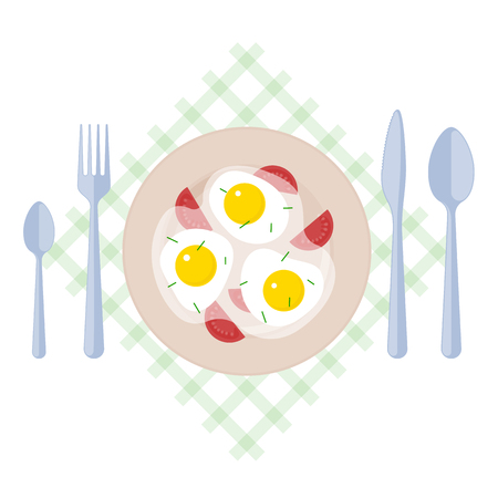 flatwares: Breakfast: scrambled eggs, tomatoes, fork, spoons, knife on a table napkin. Flat illustration of kitchen utensils, omelette, isolated on a white background. Vector omelet elements for food infographic Illustration